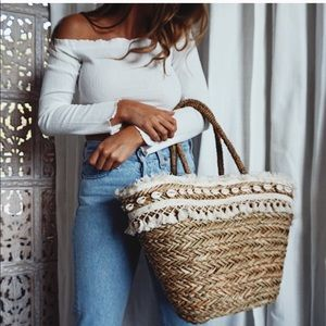Puka Shell Straw Beach Tote